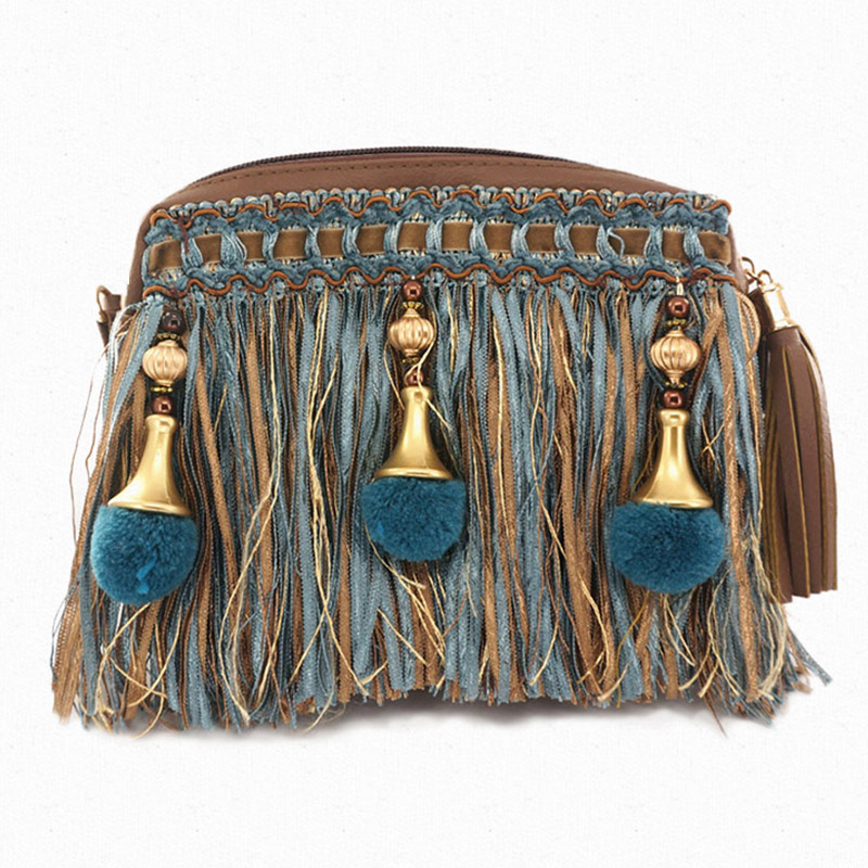 ФОТО Exclusive Design 2017 New Women Messenger Bags Baroque Chain Tassel Ball Pendant Flap Shoulder Handbag Crossbody Messenger Bag