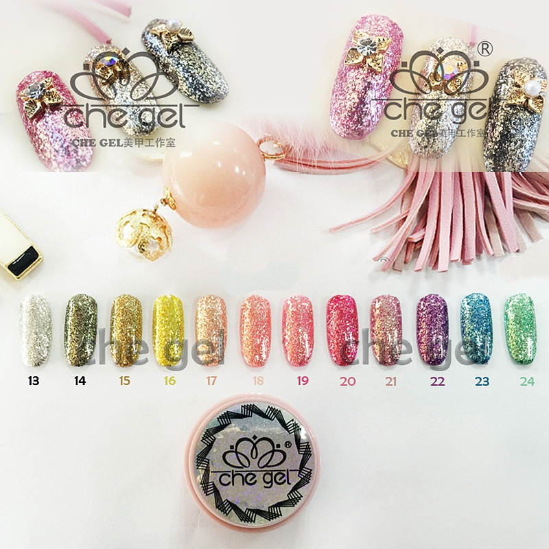 12 Colors 6G Che glitter uv gel nail polish acrylic nail art ...
