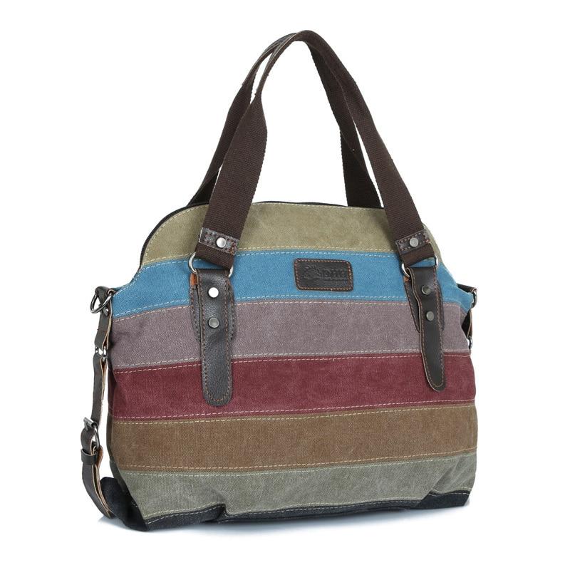Large Capacity Women Handbag High Quality Canvas Striped Shoulder Crossbody Messenger Bags Soft Panelled Zipper Clutch Sac C12