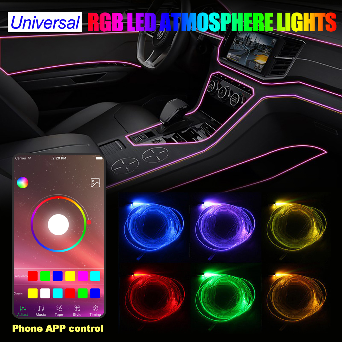 4x RGB LED Car Interior Neon EL Strip Light Sound Active Phone Bluetooth Control new 1 set colorful rgb led car interior neon el wire strip light auto dashboard decorative lamp sound active app control