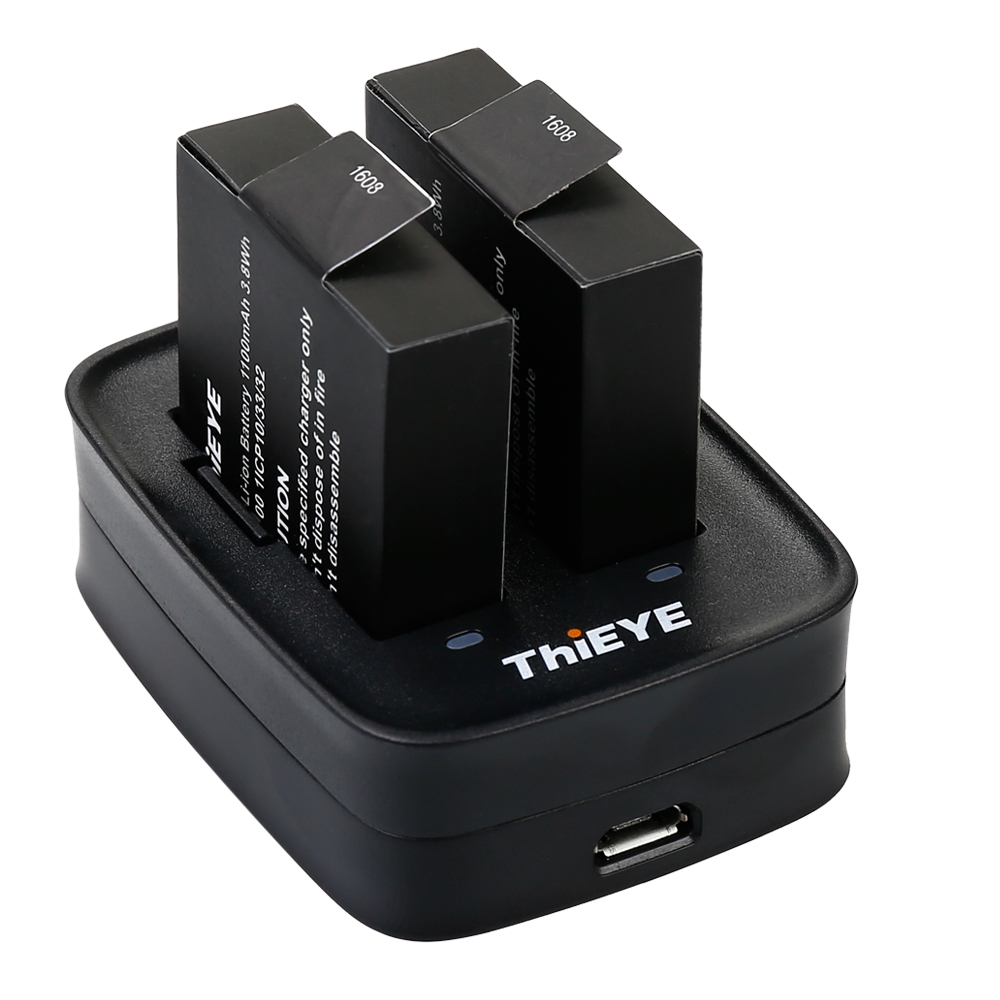 Dual Battery Charger + Two 1100mAh Rechargeable Batteries for ThiEYE T5 Edge / E7 / T5e / T5