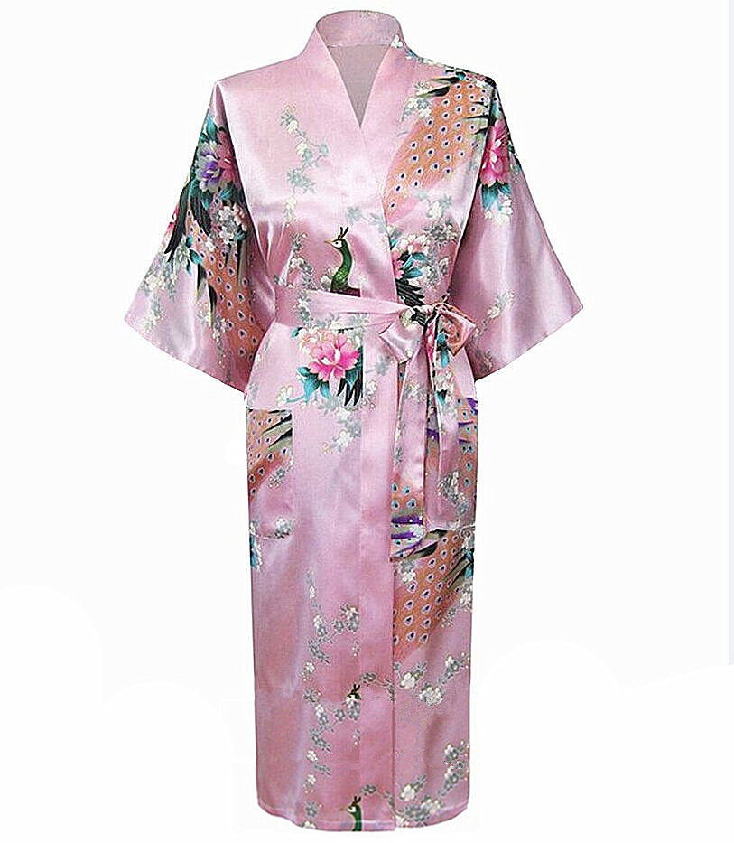 most popular pink chinese women robe kimono bath gown lady summer silk rayon nightgown mujer. Black Bedroom Furniture Sets. Home Design Ideas