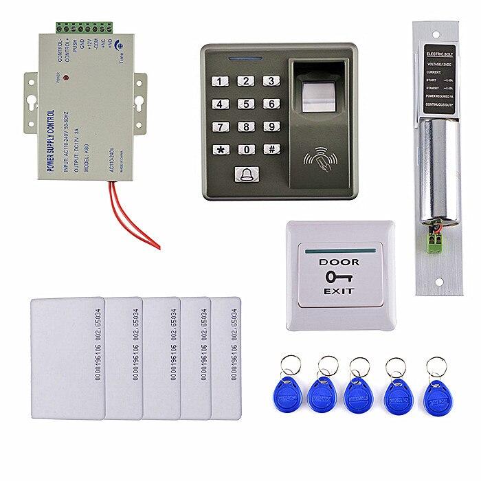 Electric Bolt Door Lock +125KHZ RFID Card Fingerprint Door Access Control Kit +5 RFID Card+5 Key Card digital electric best rfid hotel electronic door lock for flat apartment