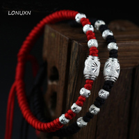 A pairs(2 pieces) 925 Sterling Silver man(black) + women(Red) String Bracelet lucky beads can be lettering hand rope lovers gift