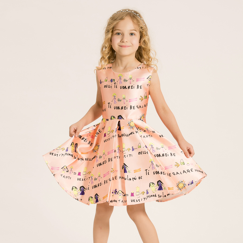 New Fashion Cute Baby Girls Dress Summer Kids Clothes for Palace Printed Princess Dress Little Girls Brand Children Clothing
