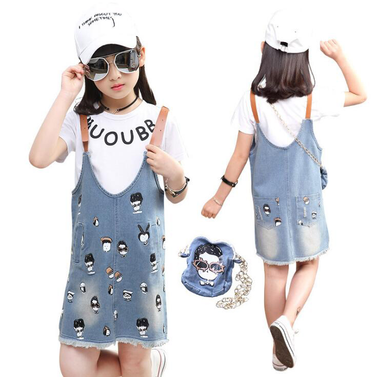 Teen Girls Summer Clothing set Cotton Cartoon T-shirt  Jeans Straps  overalls Skirt outfits ensemble fille 6 8 10 12 14 Years