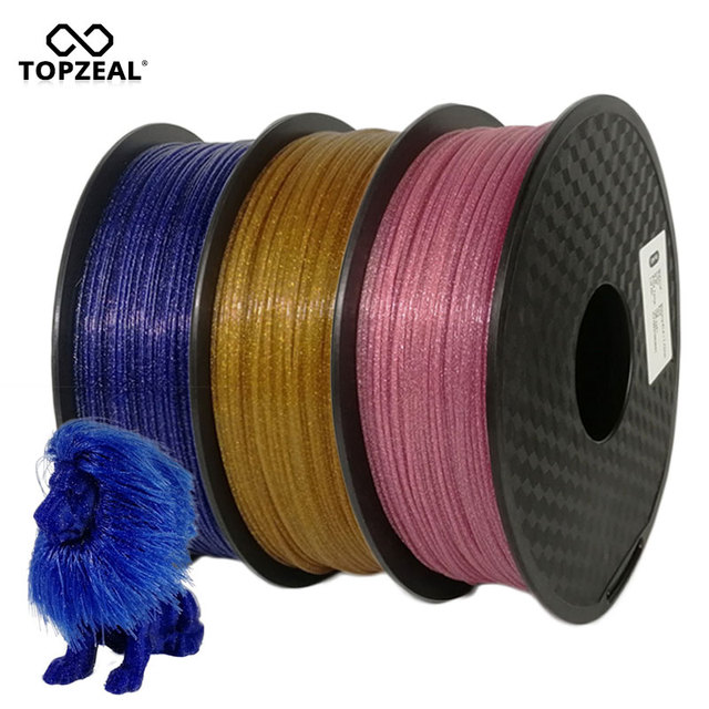 TOPZEAL 3D Printer Shining PLA Filament 1KG(2.2lbs) 1.75mm +/- 0.03mm, Sparkle Shining Black Blue Pink Golden Silver Color