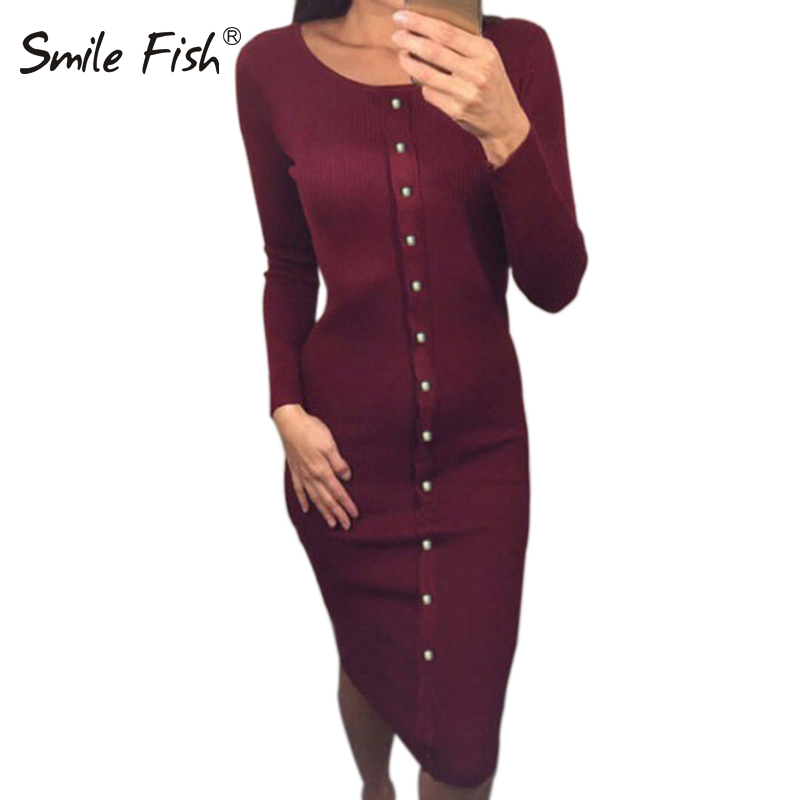 Winter Autumn Dress Women Bodycon Dresses Casual Stretwear Knit Dress Party Elegant Warm Long Sleeve Stretchy Midi Dress LX062