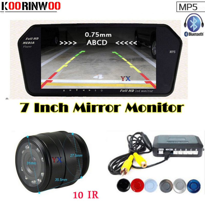 Genuine Koorinwoo 3 in 1 Car Parking Sensors Car Monitor Mirror Video 12 V Bluetooth call Car Rearview camera Parktronic Reverse koorinwoo car parking sensors 6 alarm