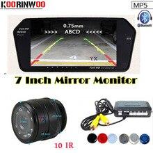 Натуральная Koorinwoo 3 в 1 автомобиля парковочные датчики автомобиля монитор зеркало видео 12 В в Bluetooth Вызов автомобиля заднего вида камера парктроник реверс