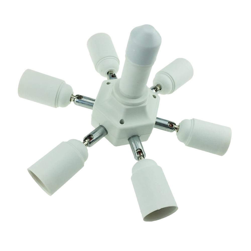 YAM Universal E27 To 6 + 1 E27 Flexible Extended Light Lamp Bulb Adapter Conversion Socket Head Lamp Holder Converter