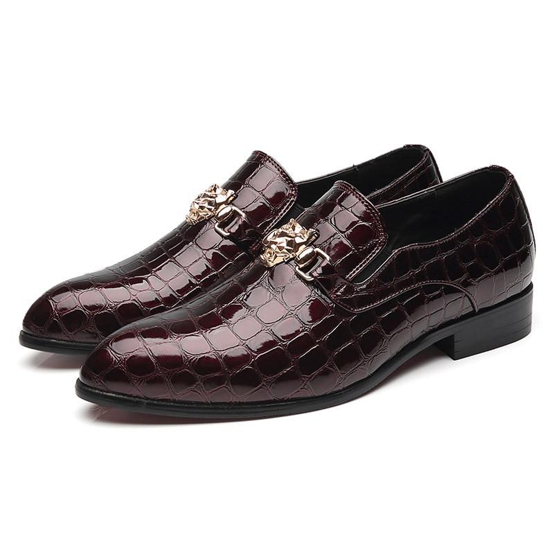Большие размеры 46-48, мужские синие, черные платья итальянская обувь из крокодиловый кожи для офиса, дешевая официальная обувь Cocodrilo для мужчин - Цвет: hong