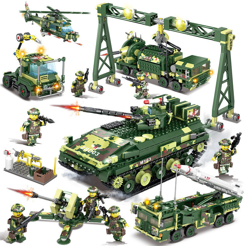Military Field Army World War LegoINGs Bricks WW2 Soldiers Tank Helicopter Figures Building Blocks Sets Toys for Children