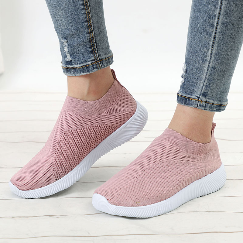 Masorini  Knitting Sock Women Vulcanized Shoes Plus Size 43 Spring Sneakers Slip On Flat Shoe Mesh Soft Walking Footwear W-540(China)