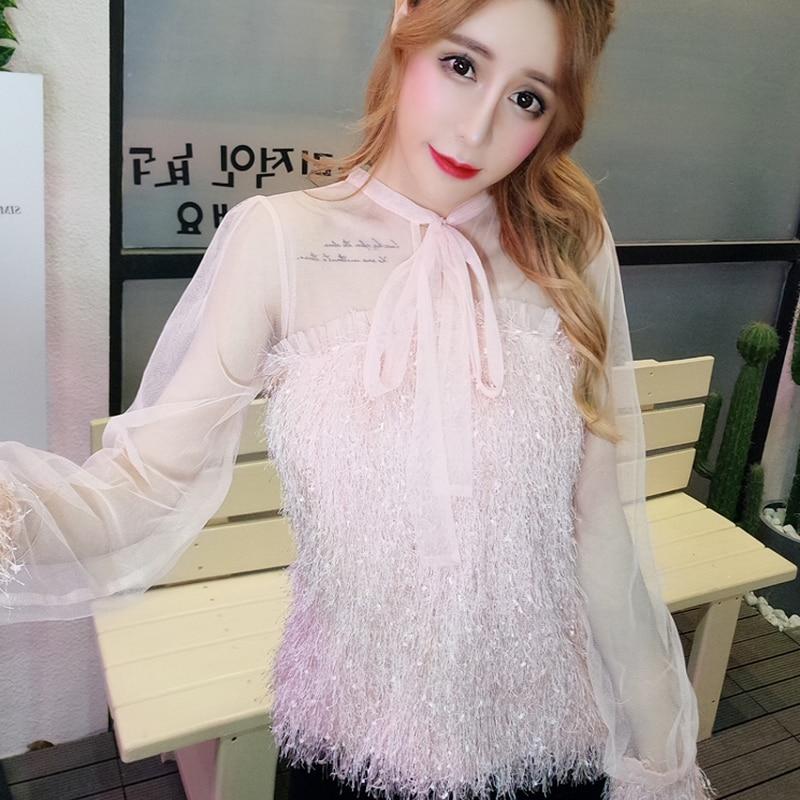 Tops Longues Rose Femme blanc Up Blouses Parti Perspective Mesh Poilu Doux Shirt Patchwork Missoov Dentelle Manches Femmes Soirée Arc 1q6Pf4Ufwc