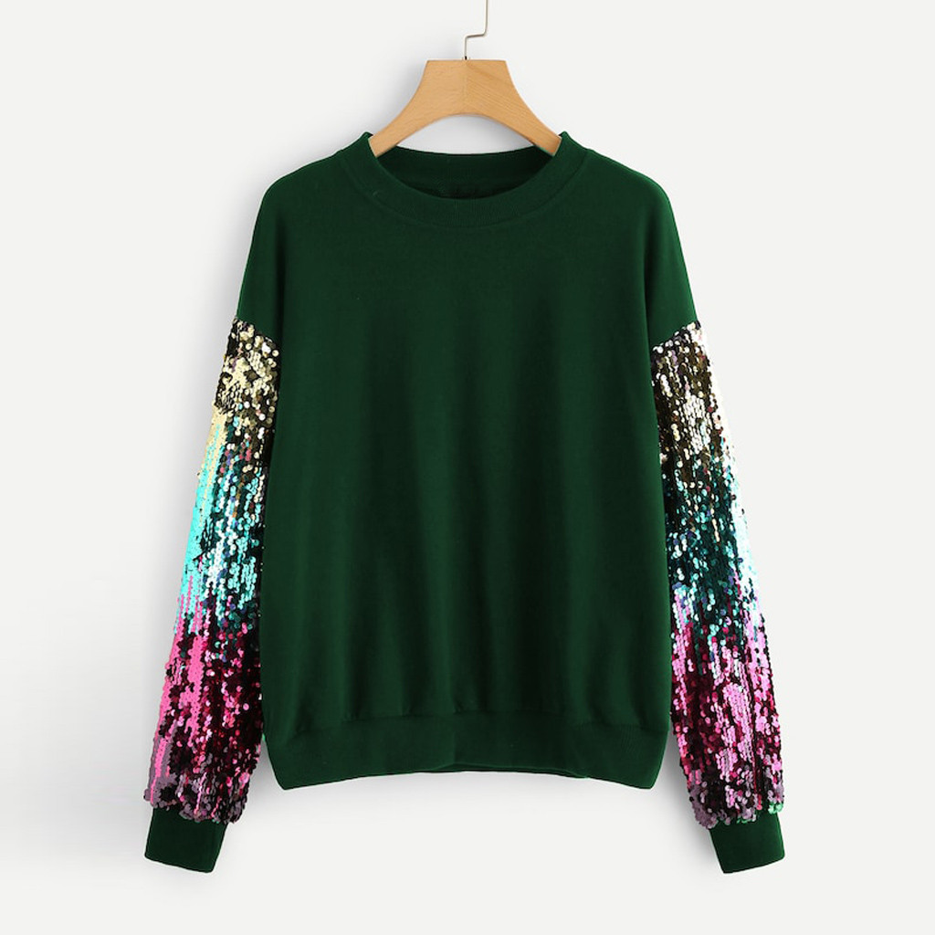 cd9a4e2aaf9 2019 sweatshit Pullover sudadera mujer Women Sweatshirt Casual Long Sleeve  Sequin O-Neck lady Sequined