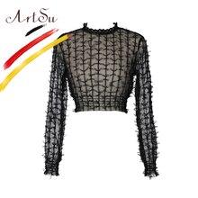 Купить с кэшбэком ArtSu Women Lace See Through Crop Top Sexy Long Sleeve Black Blouses 2018 Spring Bow Embroidery Round Neck Female Blusas Shirts