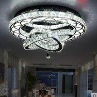 Modern LED crystal lamp creative living room lighting round suction hanging hall lamp atmospheric fashion restaurant light LED
