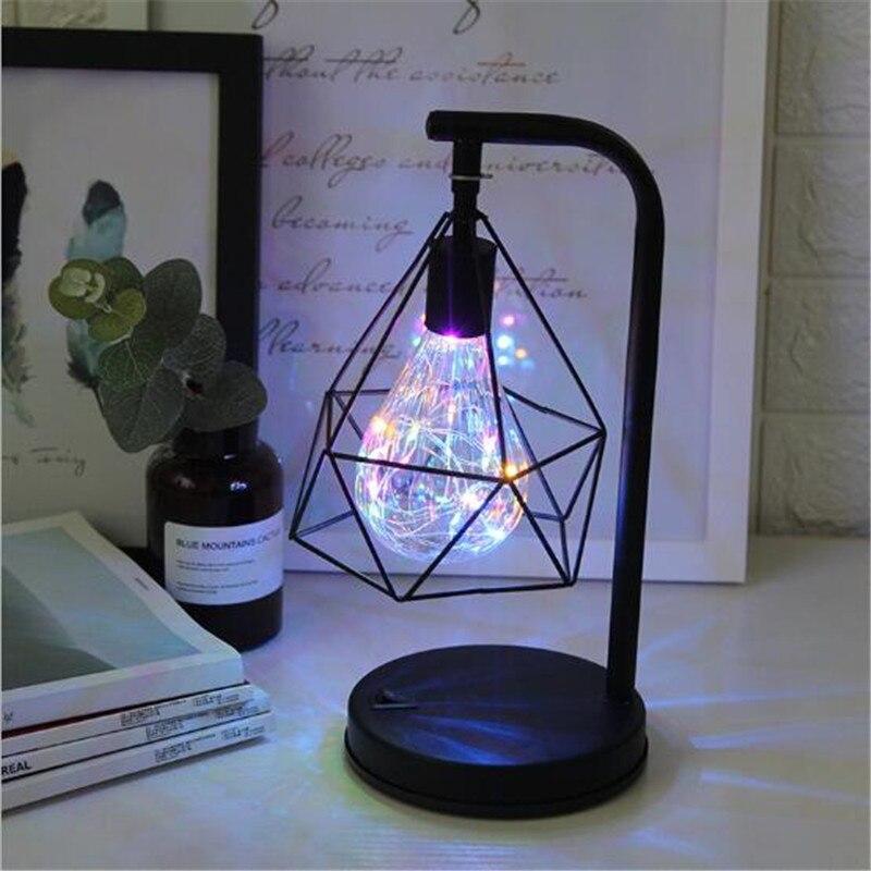 Ретро Железный арт Минималистичная настольная лампа AA батарея полый алмаз форма лампа для чтения винтажная Ночная лампа для спальни прикроватное освещение