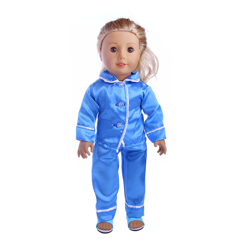 Blue Pajamas Doll Clothes Wear fit 18 inch American Girl Doll, Children best Birthday Gift 9 colors american girl doll dress 18 inch doll clothes and accessories dresses