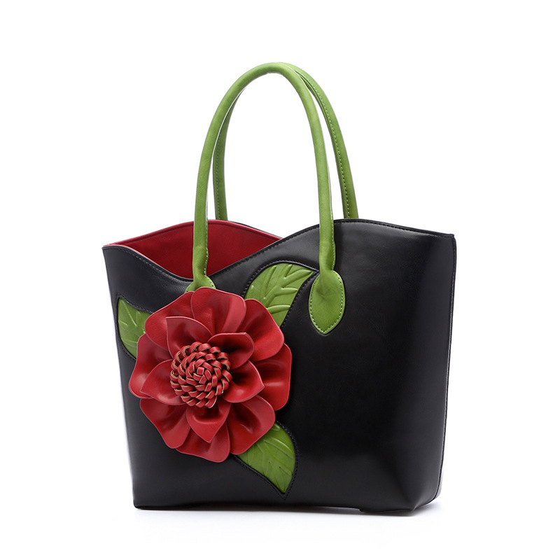 Women Luxury Bags Brands Vintage Flower PU Leather Tote Bag Famous Designer Handbags High Quality Ladies Fashion Shoulder Bags
