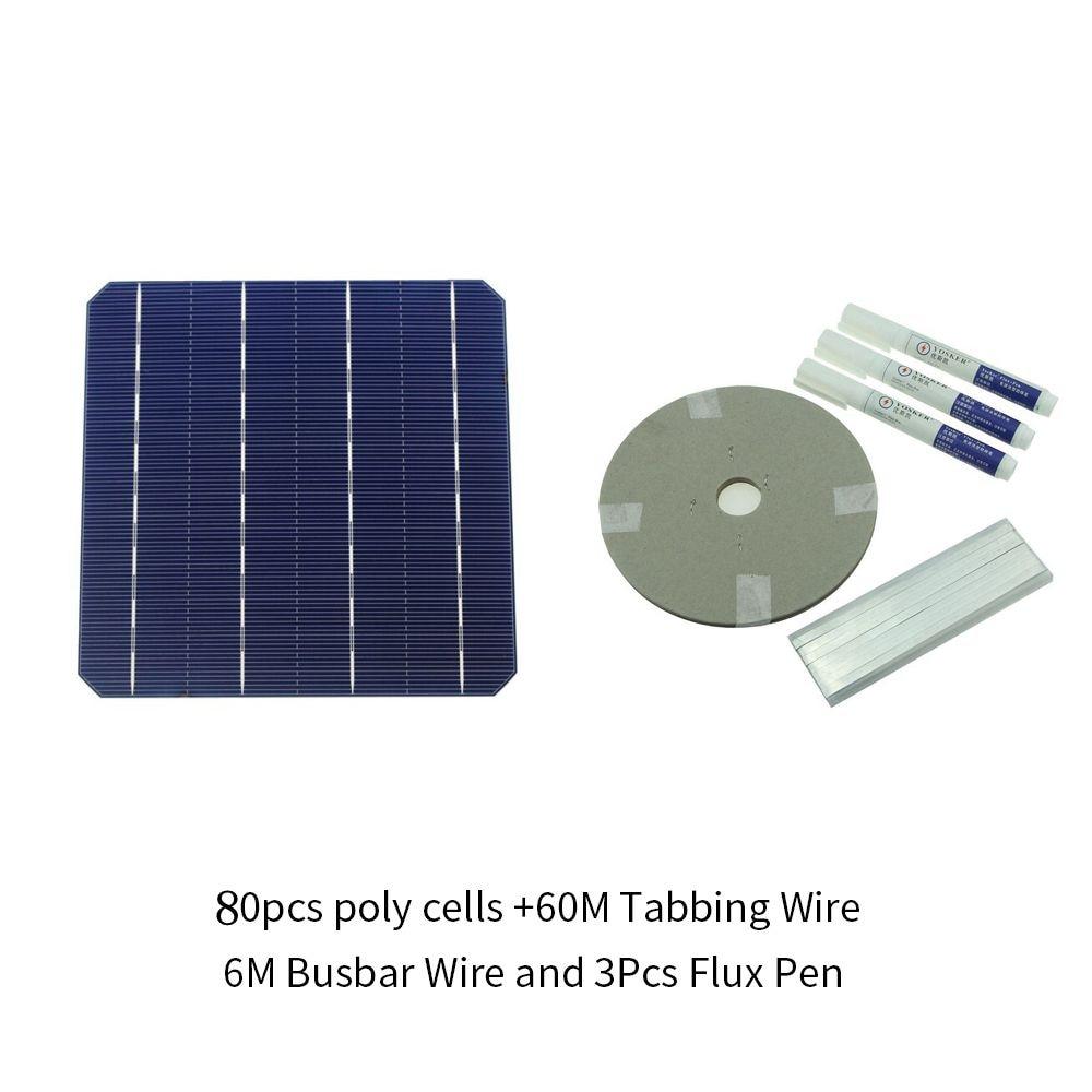 80 pz Monocrystall Celle Solari 6x6 Con 120 m Filo di Tabulazione 10 m Sbarre Filo e 5 pz penna di flusso