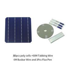 80 шт. монокристалла солнечных батарей 6×6 с 120 м табулируя провод 10 м шин провода и 5 шт. ручка поток