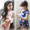 Preferencial rebate não muda das crianças desgaste de manga curta Shorts Set flor de manga curta meninas + T021