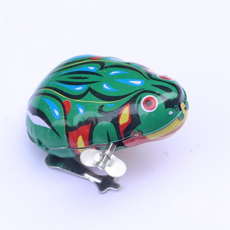 Fun Classic Nostalgic Little Frog Tin Frog Clockwork Toy Chain Jump Frog Children Small Toys Tin Toys For Retro Vintage Toys