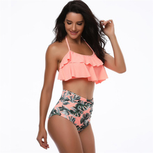 Women Swimsuit Two Pieces High Waisted Bikini Set Halter Neck Off Shoulder Ruffle Flounce Crop Bikini Top Swimwear Bathing Suits