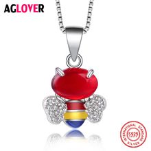 925 Sterling Silver Cute Bees Necklaces Pendants For Women High Quality Colorful Crystal Zircon Lady Jewelry