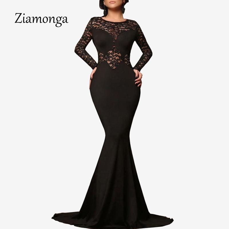 Ziamonga 2017 Black Long Sleeve Lace Mermaid Maxi Dress Sexy Evening Party Gowns Long Dress Robe De Soiree Longue Vestidos Largo
