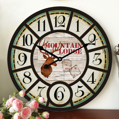 Home Decoration Large Wall Clocks Wooden Silent Clock Vintage Decor Fashion Big Watches Relojes Decoracion Pared