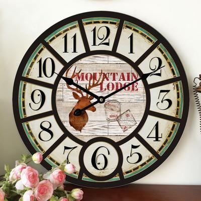 Home Decoration Large Wall Clocks Wooden Silent Clock Vintage Decor Fashion Big Watches Relojes Decoracion Pared