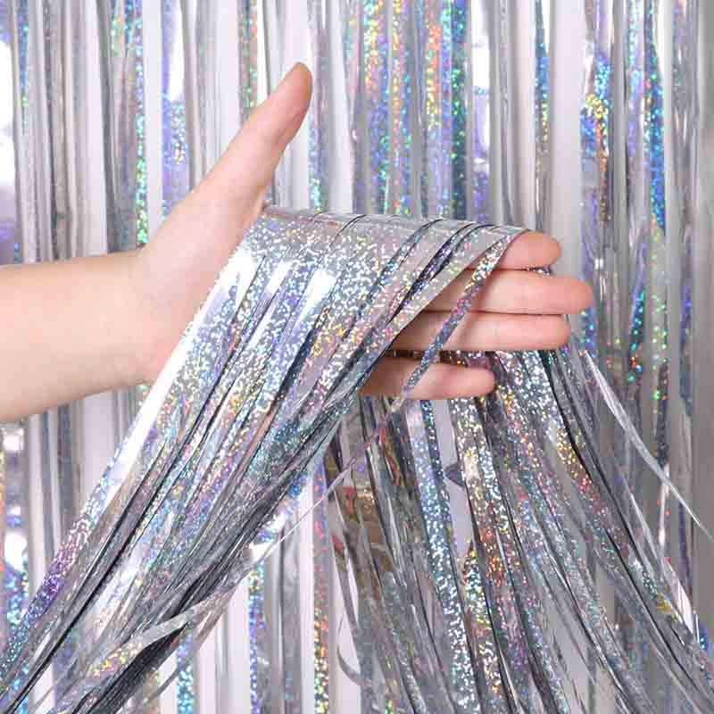 Wall-Decoration Backdrop Glitter Curtain Tinsel Foil-Fringe Photo-Booth Gold Wedding-Party