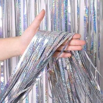2 м 3 м 4 М Металлическая бахрома из фольги мерцающий фон для свадебной вечеринки украшения стен фото стенд фон мишура блестящие занавески золотые