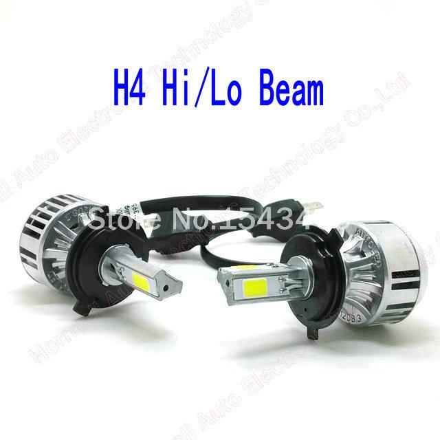 72w 6600lm Car Led Headlights H4 3pcs Cob Chips H4 Car Led
