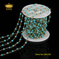 5Meter 4mm Round Howlite Beaded Chains Jewelry,Plated Brass Wire Wrapped Rosary Chain Blue Magnesite Smooth Beads Chains ZJ01