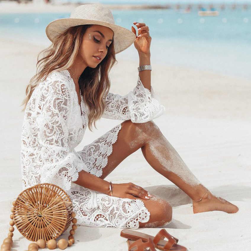 Frauen Spitze Strand Cover up 2019 Elegante lange Hülse Mesh Transparent Beachwear Playa Kleid Damen tunika kaftan Bikini Cover up
