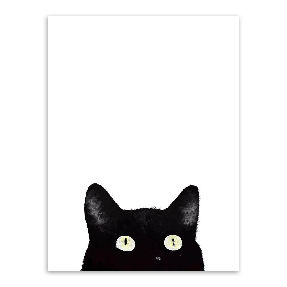 Watercolor-Minimalist-Kawaii-Animals-Black-Cats-Head-Canvas-A4-Art-Print-Poster-Nordic-Wall-Picture-Home (2)