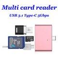 Lector de tarjetas USB 3.0 3.1 Tipo C de Alta Calidad mini USB Adaptador de tarjeta de Tipo C-C Android Teléfonos TF tarjeta de memoria 4 Color