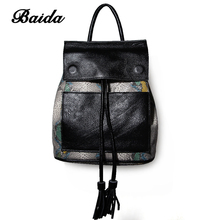 BAIDA Women Genuine Real Cow Leather Backpack Shoulder Bag Serpentine School Book Travel Daily Casual Punk Rock Vintage Retro