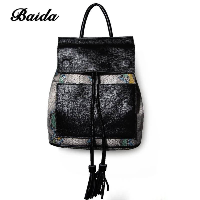 BAIDA font b Women b font Genuine Real Cow Leather font b Backpack b font Shoulder