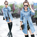 Fashion Women Jean Trench Casual Frayed Wash Denim Long Woman Jean Coat Slim Hole Trench Female Outwear Women Clothing Plus Size