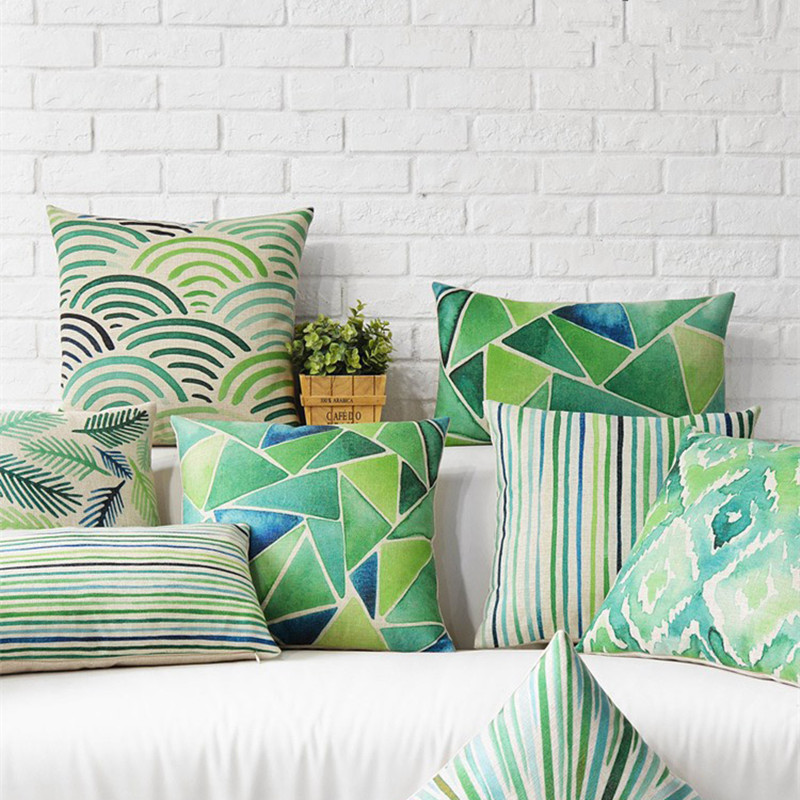 Green leaf pastoral cushion for sofas geometric polyester for Cojines para sofas