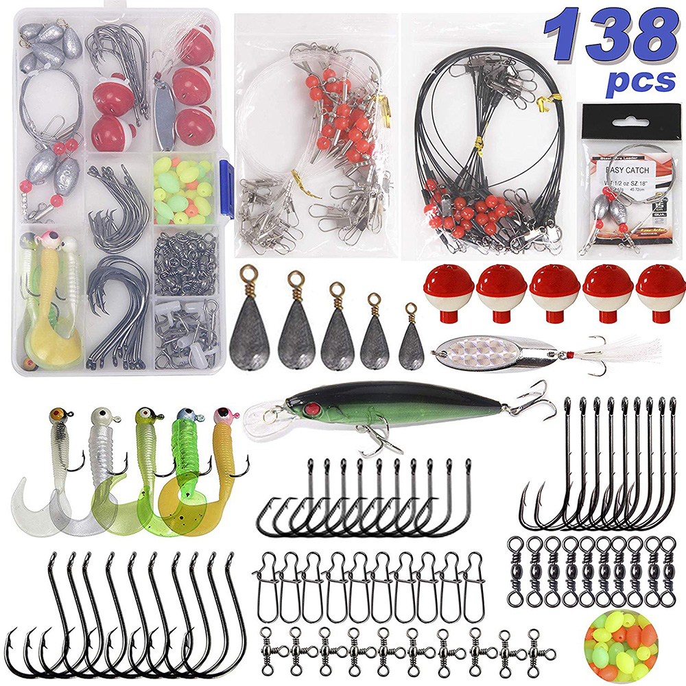 138pcs/Box Leader Rigs Saltwater Lures Spoon Sinker Weights