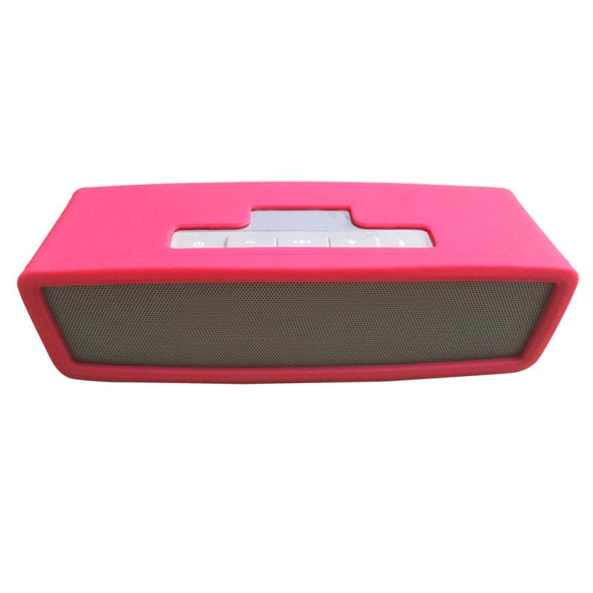 Beautiful Gift New Silica gel Carry Travel Cover Bag For Bose SoundLink Mini Bluetooth Speaker HOT Pink Free Shipping Jun9