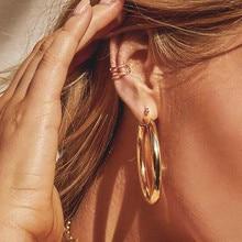 Популярные золотые серьги-кольца в стиле панк-рок, минималистичные геометрические серьги 50 мм, большие круглые серьги-кольца из сплава для женщин, женский подарок