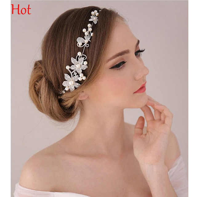 Hot Crystal Rhinestone Headband Silver Flower Wedding Party Hair Bands Bridal  Hair Accessories Imitation Pearl Headwear SV026050 7d3fcb655a2
