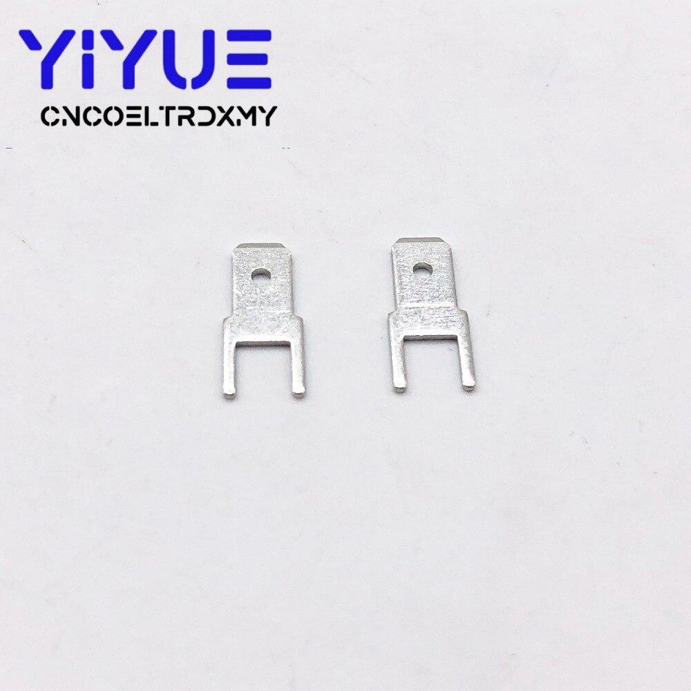 100Pcs 4.8 Inserts Plug male Terminal 250 PCB Solder lug thickness 0.8 two legs ,PCB welding sheet (4)